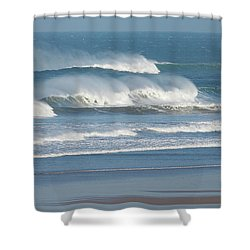 Shower Curtain featuring the photograph Windy Seas In Cornwall by Nicholas Burningham
