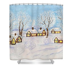 Winter Landscape, Painting Shower Curtain by Irina Afonskaya
