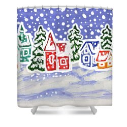 Winter Landscape With Multicolor Houses, Painting Shower Curtain by Irina Afonskaya