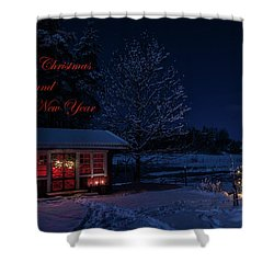 Shower Curtain featuring the photograph Winter Night Greetings In English by Torbjorn Swenelius