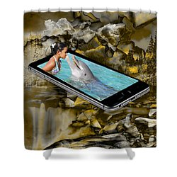 Shower Curtain featuring the mixed media Wonderment by Marvin Blaine