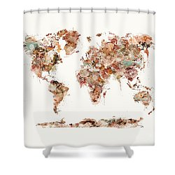 Shower Curtain featuring the painting World Map Watercolor by Bri B