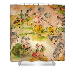 World Of Guinea Pigs And Naked Cats Album Shower Curtain by Debbi Saccomanno Chan