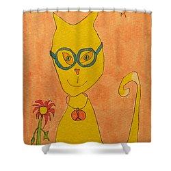 Yellow Cat With Glasses Shower Curtain