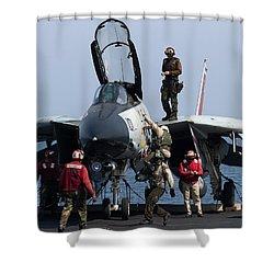 An F-14d Tomcat On The Flight Deck Shower Curtain by Gert Kromhout
