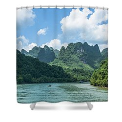 Lijiang River And Karst Mountains Scenery Shower Curtain