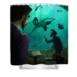 20000 Leagues Under The Sea Shower Curtain by Andy Catling