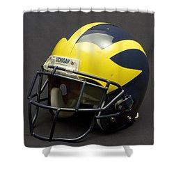 Shower Curtain featuring the photograph 2000s Era Wolverine Helmet by Michigan Helmet