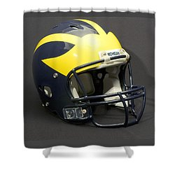 Shower Curtain featuring the photograph 2000s Wolverine Helmet by Michigan Helmet