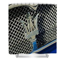 2002 Maserati Combiocorsa Spyder Hood Ornament Shower Curtain by Jill Reger