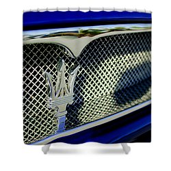2002 Maserati Hood Ornament Shower Curtain by Jill Reger