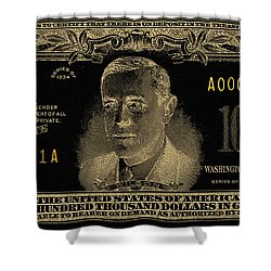 Shower Curtain featuring the digital art U.s. One Hundred Thousand Dollar Bill - 1934 $100000 Usd Treasury Note In Gold On Black  by Serge Averbukh