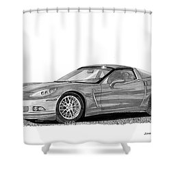Corvette Roadster, Silver Ghost Shower Curtain by Jack Pumphrey