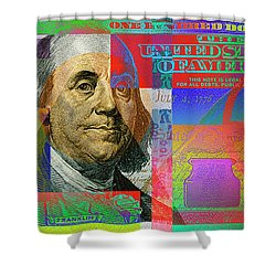 2009 Series Pop Art Colorized U. S. One Hundred Dollar Bill No. 1 Shower Curtain by Serge Averbukh