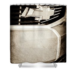 Shower Curtain featuring the photograph 2011 Chevrolet Camaro Grille Emblem -0321s by Jill Reger