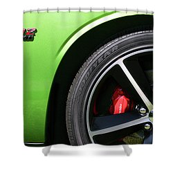 2011 Dodge Challenger Srt8 392 Hemi Green With Envy Shower Curtain by Gordon Dean II