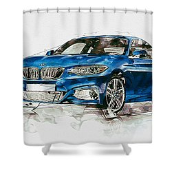 2014 B M W 2 Series Coupe With 3d Badge Shower Curtain by Serge Averbukh