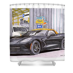 2014 Corvette And Man Cave Garage Shower Curtain by Jack Pumphrey