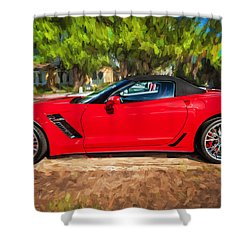2015 Chevrolet Corvette Zo6 Painted  Shower Curtain by Rich Franco