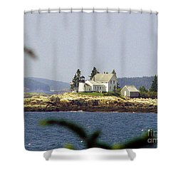 2015 Winter Harbor Light Shower Curtain