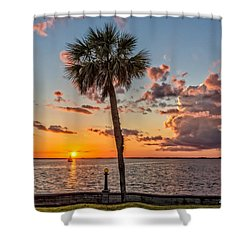 Shower Curtain featuring the photograph Sunset Over Lake Eustis by Christopher Holmes