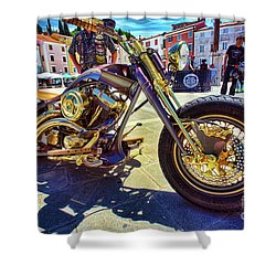 2016 Custom Harley Winner Shower Curtain by Graham Hawcroft pixsellpix