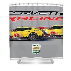 2016 Daytona 24 Hour Corvette Poster Shower Curtain by Alain Jamar