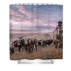 2016 Reno Cattle Drive Shower Curtain by Rick Mosher
