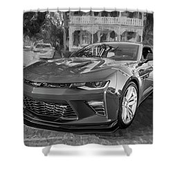 Shower Curtain featuring the photograph 2017 Chevrolet Camaro Ss2 Bw by Rich Franco