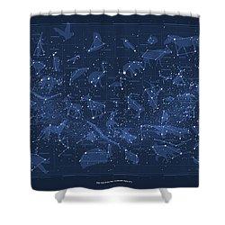 2017 Pi Day Star Chart Carree Projection Shower Curtain by Martin Krzywinski