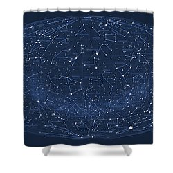 2017 Pi Day Star Chart Hammer/aitoff Projection Shower Curtain by Martin Krzywinski