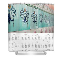 Shower Curtain featuring the photograph 2017 Wall Calendar Blue Ceramic Tiles by Ivy Ho