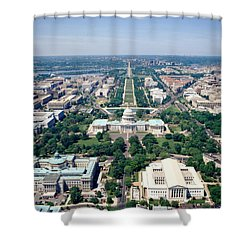 Aerial View Of Buildings In A City Shower Curtain