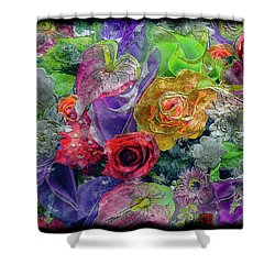 21a Abstract Floral Painting Digital Expressionism Shower Curtain