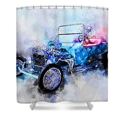 23 Model T Hot Rod Watercolour Illustration Shower Curtain