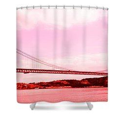 25 De Abril Bridge In Crimson Shower Curtain by Lorraine Devon Wilke