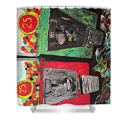Shower Curtain featuring the painting 25cts by Olivier Calas