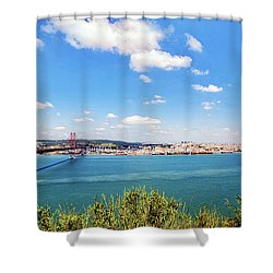 Shower Curtain featuring the photograph 25th April Bridge Lisbon by Marion McCristall