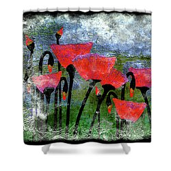 26a Abstract Floral Red Poppy Painting Shower Curtain
