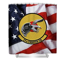 Shower Curtain featuring the digital art 27th Fighter Squadron - 27 Fs Patch Over American Flag by Serge Averbukh