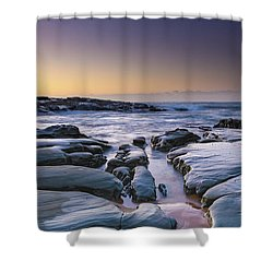 Sunrise Seascape And Rock Platform Shower Curtain