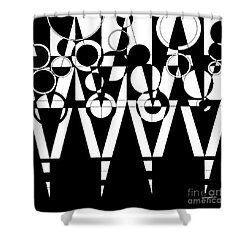 2d Black And White Abstract Shower Curtain