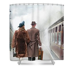1940's Couple On A Railway Platform With Steam Train  Shower Curtain by Lee Avison