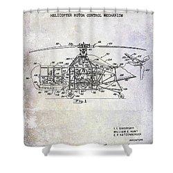 1950 Helicopter Patent Shower Curtain by Jon Neidert