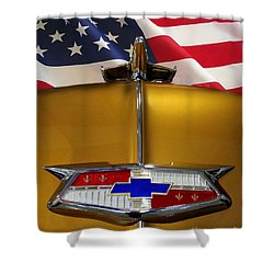 1954 Chevrolet Hood Emblem Shower Curtain by Peter Piatt