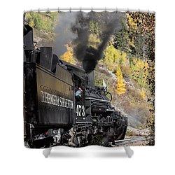 Shower Curtain featuring the photograph A Durango And Silverton Narrow Gauge Scenic Railroad Train Chugs Through The San Juan Mountains by Carol M Highsmith