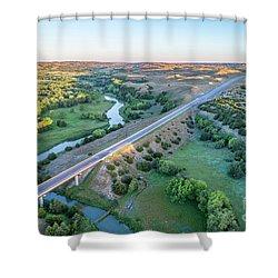 aerial view of Dismal River in Nebraska Shower Curtain