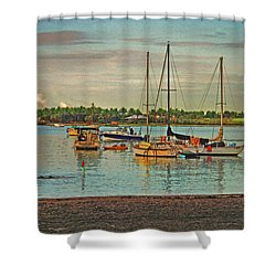 Shower Curtain featuring the digital art 3- Anchored Out by Joseph Keane