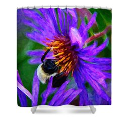 Bee On Purple Flower Shower Curtain