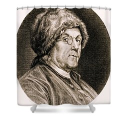Benjamin Franklin, American Polymath Shower Curtain by Science Source